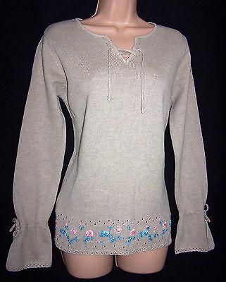 Caritatevole Laura Ashley A Mano Vintage Beige Ricamato Cravatta Anteriore Cotone Maglione, Grande-mostra Il Titolo Originale