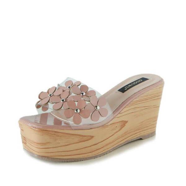 Sandali eleganti sabot zeppa ciabatte 9 rosa comodi simil pelle colorati 9831