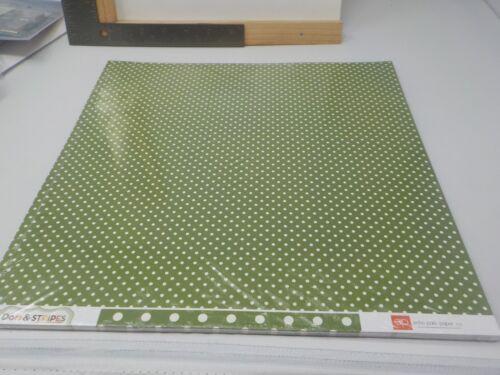 ECHO PARK DOTS /& STRIPES LEAF GREEN POLKA DOTS CARDSTOCK 25 SHEETS 12X12 A10139