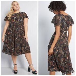 Nuevo-SIN-ETIQUETAS-Modcloth-adornado-a-la-perfeccion-Floral-Vestido-99-2x-Negro