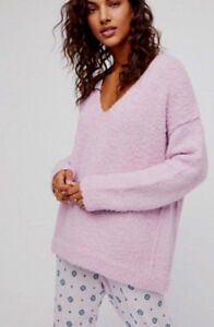 Free People Ob674942 Lofty V Neck Long Sleeve Pullover Sweater Light