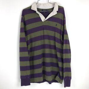 2a02b94cd740 Vintage Polo Ralph Lauren Rugby Shirt Large Purple Olive Color Block ...