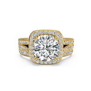 1.65 Ct Round Moissanite Engagement Superb Band Set Solid 18K Yellow Gold Size 8