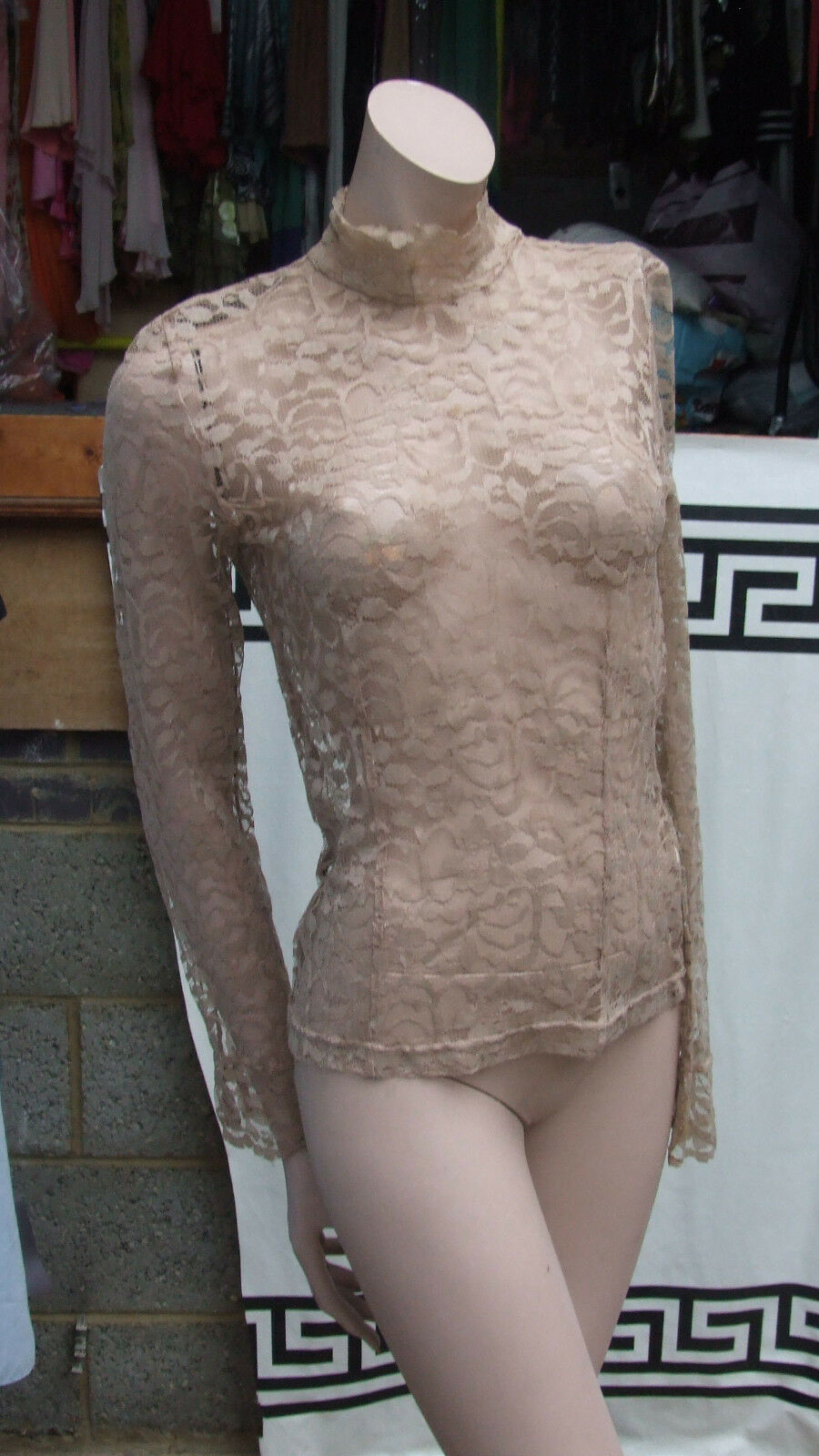 Fabulous Beige Lace Stretchy Lacy Long Sleeve High Neck Luxurious Top