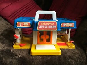 VINTAGE-1986-Fisher-Price-Little-MART-Playset-Little-People-i-bambini-in-buonissima-condizione
