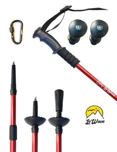 – Collapsible /& Ultralight Set Skiing Poles – Trekking Poles 2 RED by LeWave