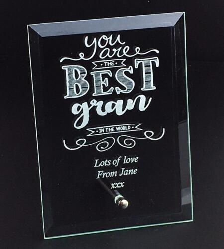 Best Gran In The World Personalised Engraved Glass Plaque BGINTW-GP