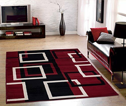 Sweet Home Stores Clifton Modern Boxes Design Area Rug 5ft X 7ft Rhebay: Dark Red Rugs For Living Room At Home Improvement Advice