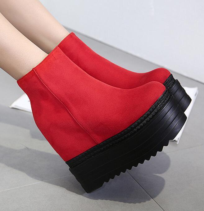 Women Punk Ankle Boots Round Toe Platform shoes Hidden wedge Heels Side Zipper