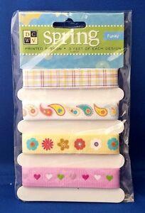 DCWV-Spring-FUNKY-Ribbon-Set-3-Feet-of-4-Designs-Scrapooking-Cardmaking-Crafts