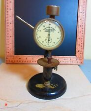 1883 Antique Randall Stickney Dial Indicator Gauge & Cast Iron stand Steam Punk
