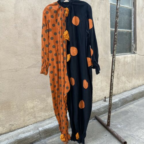 Antique 1920s 1930s Orange Polka Dot Clown Costume