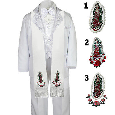 Precise Boy Toddler Communion Christening Baptism White Formal Tuxedo Suit Set Stolen