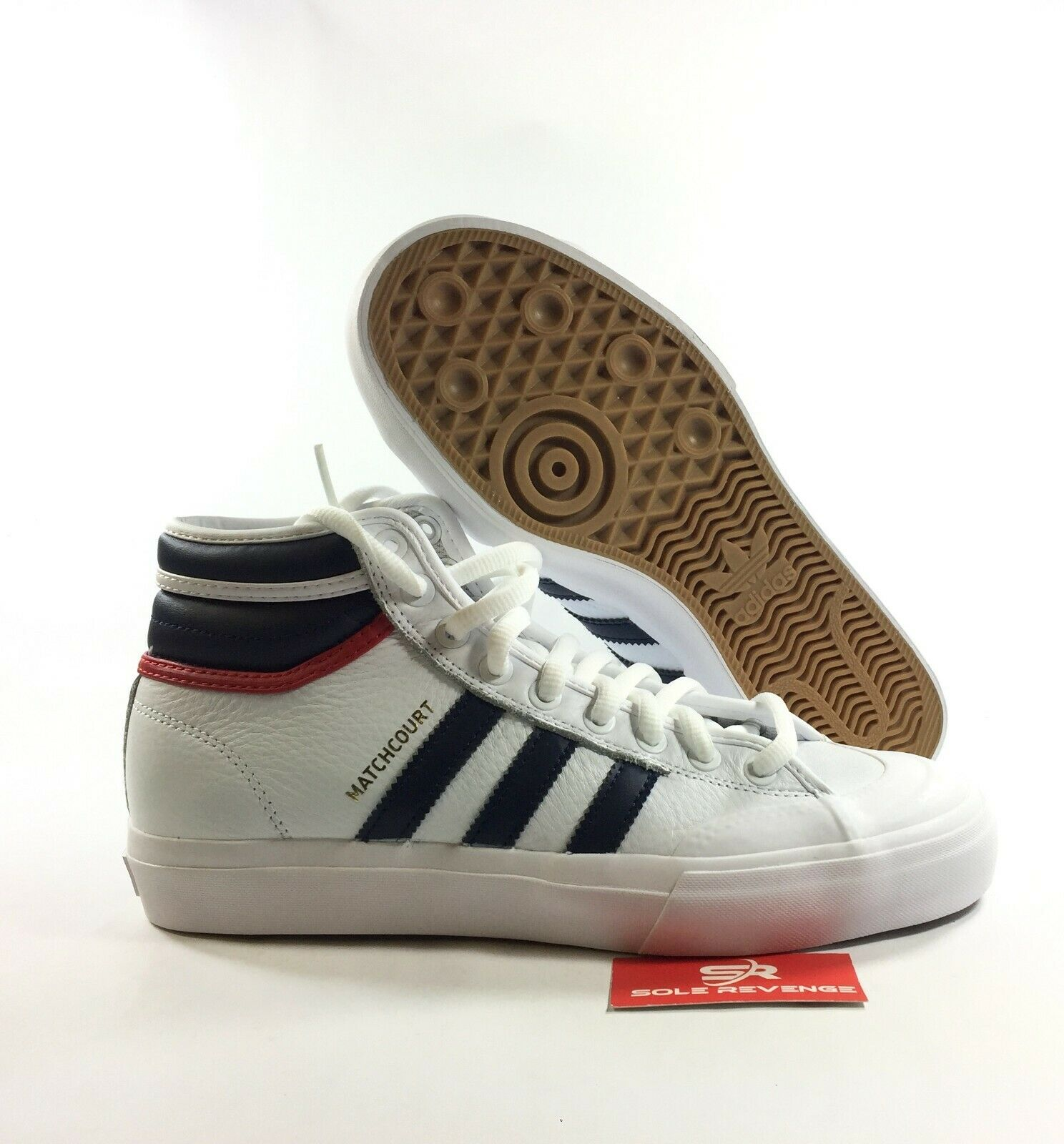 NEW adidas Originals MATCHCOURT HIGH RX2 SHOES White Navy Red BY4136 x1