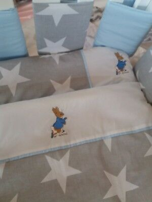 Peter Rabbit Cot Bed Quilt And Pillow Embroidered Grey