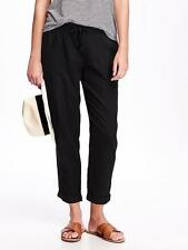 Old Navy Women's Black Linen Blend Cropped Pants Size L