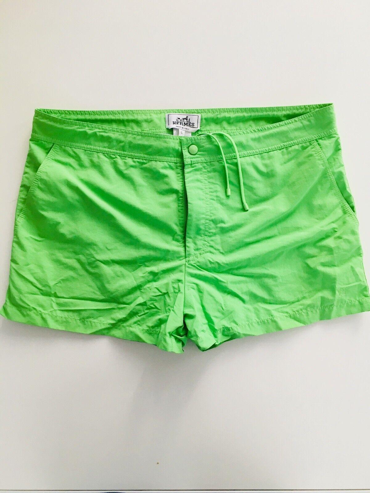 HERMES PARIS Mens Swim Shorts TOILE DE BAIN in Lime Green - Size XL(36w) - BNWOT