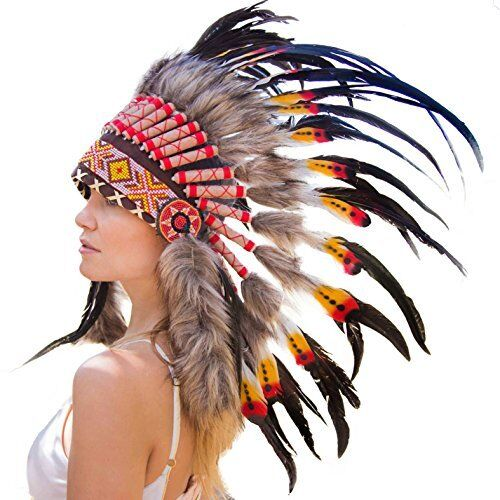 Native American Indian Inspired Novum Crafts Feather Headdress Choose Color