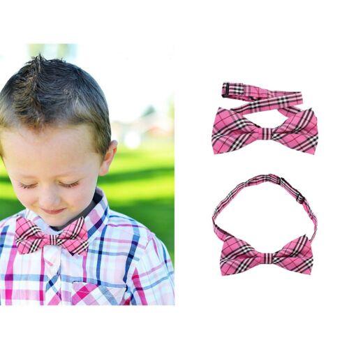 Kids Baby Boy Girls Plaid Bowtie Wedding Tuxedo Prom Bow Tie Neckwear Necktie