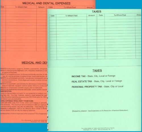 DOME TAX DEDUCTIONS FILE RECORD ALL PERSONAL TAX DEDUCTIBLE EXPENSES HAS POCKETS