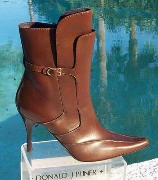 Donald Pliner Couture Dark Tan Leather Boot Shoe New 8 Side Zipper 495 NIB