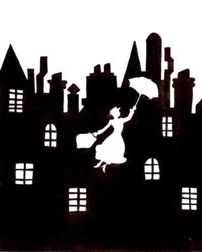 """Mary poppins /& skyline 190m mylar réutilisable pochoir-env 6/"""" x 6/"""""""