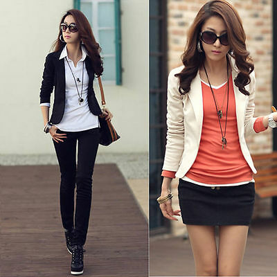 Korean Fashion Women Lady Casual One Button Slim Short Suit Blazer Jacket Coat