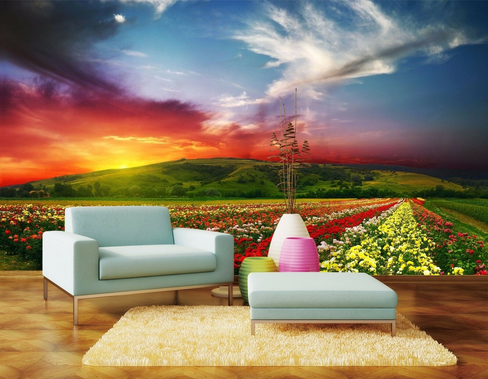 3D Flowers of the ocean dusk Wall Paper Print Decal Wall Deco Indoor wall Mural