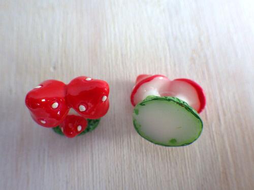 Resin Cabochon rot weiß Scrapbooking Holzschachtel basteln Pilz Fliegenpilz