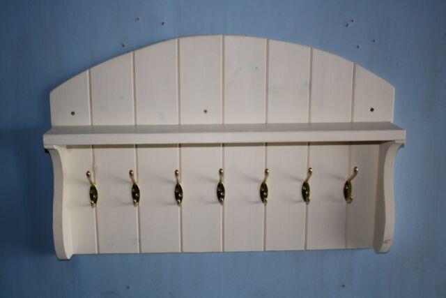 Coat Rack Wall Coat Hanger With Shelf Cream Shabby Chic Wood Wooden Large