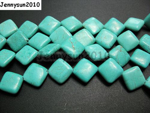 Azul Howlite Turquesa 12mm Diagonal Plana Cuadrada suelto espaciador granos de 16 Strand