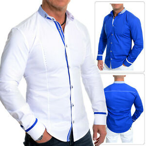 Men-039-s-Casual-Format-Shirt-Grandad-Band-Collar-Cotton-White-Royal-Blue-Slim-Fit