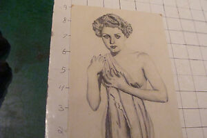 original VINTAGE drawing: actress DOLORES DAWN w Breast exposed in clothes