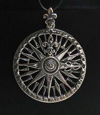 Sterling Silver Pendant Solid 925 COMPASS FLEUR DE LYS PE000692 EMPRESS