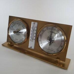 Brass Linden Weather Station, Barometer, Thermometer, Hygrometer-West Germany