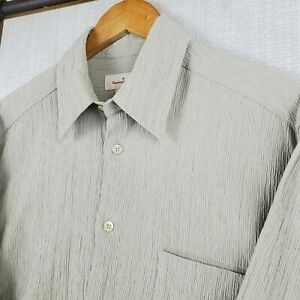 ERMENEGILDO-ZEGNA-ITALY-Medium-Mens-Cotton-Crinkle-Button-Down-Front-Dress-Shirt