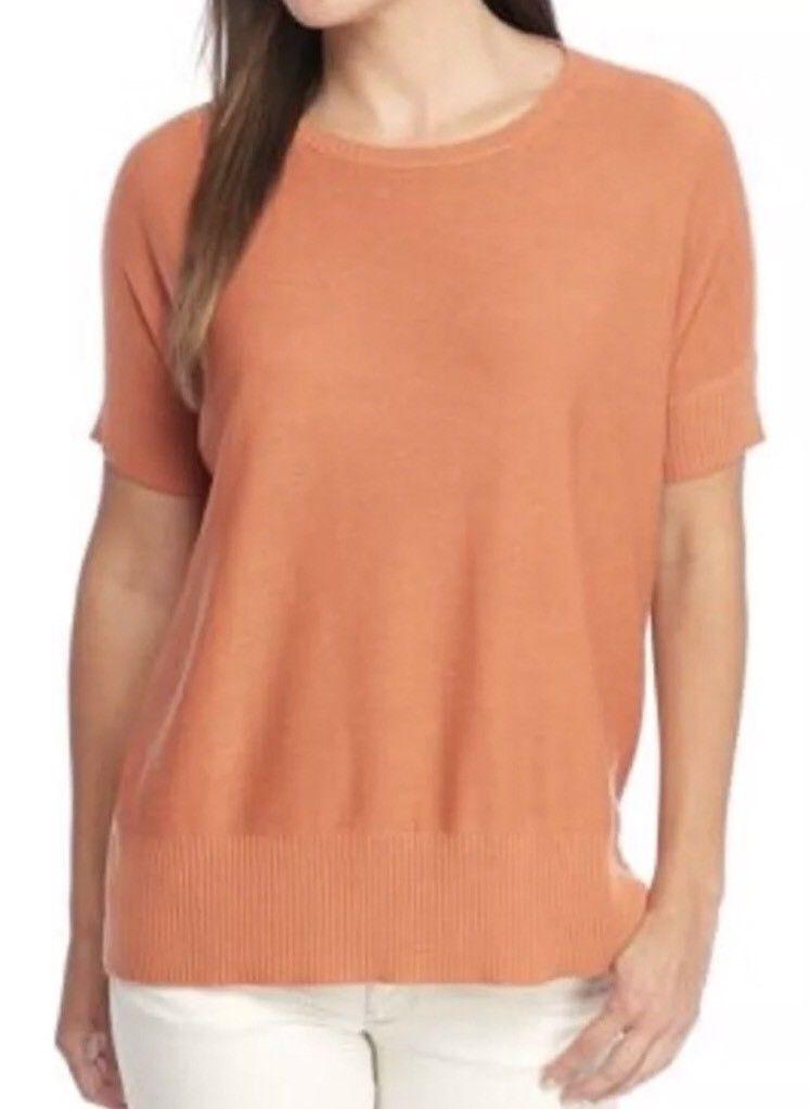 Eileen Fisher NWT  Pumpkin Orange Roundneck Top Sleek Tencel Merino Knit 1X