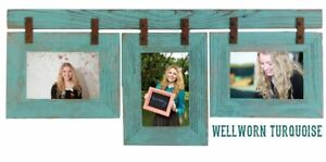 Wood Picture Frame 3Set Collage Turquoise Photo Barn Wall Display Hanging Rustic
