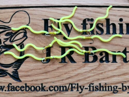 Fly Fishing 6 fluro yellow Squirmy Wormy Trout Flies Size 10 Squirmys
