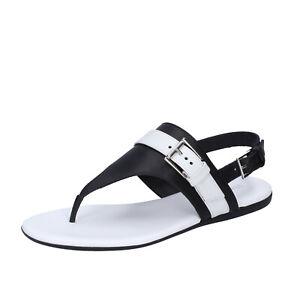Women's shoes HOGAN 5.5 (EU 35,5) sandals black leather white ...