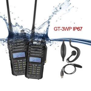 2x Baofeng GT-3WP V/UHF Ham Two-way Radio Waterproof IP67 + USB Cable + Earpiece