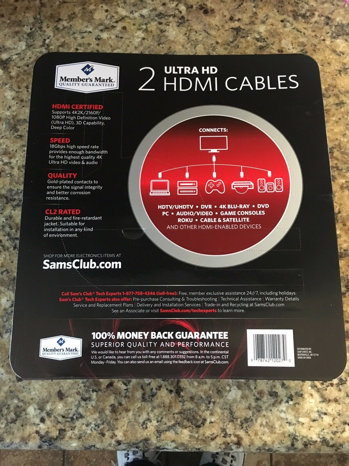 Member/'s Mark HDMI Cables High Speed UltraHD 24K Gold Plated Connectors 9Ft 2Pk