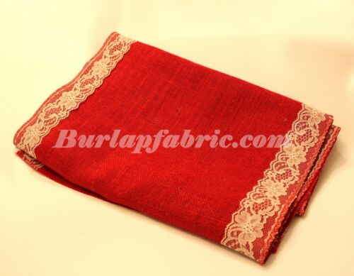 """Colored Burlap Table Runner 14/"""" X 90/"""" with 2/"""" IVORY Lace Borders"""