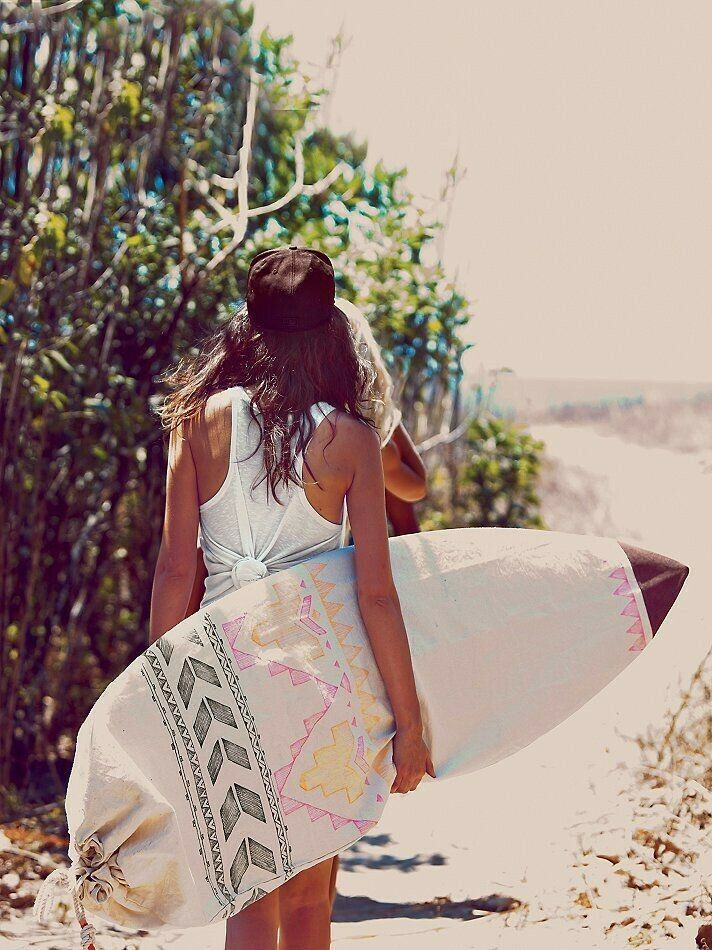 Free People Limited Edition Chapman en el mar la Neón scribbs Azteca De Surf Board Bag