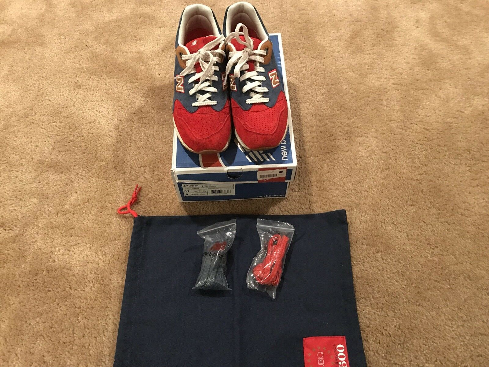 NEW BALANCE 1600 X UBIQ  THE BENJAMIN  RED NAVY WHITE DS SIZE 11 PREOWNED