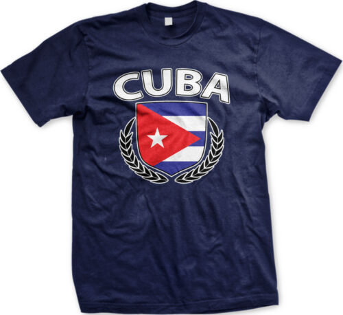 Cuba Shield Branches Cubano Pride Orgullo Béisbol Fútbol Baseball Mens T-shirt