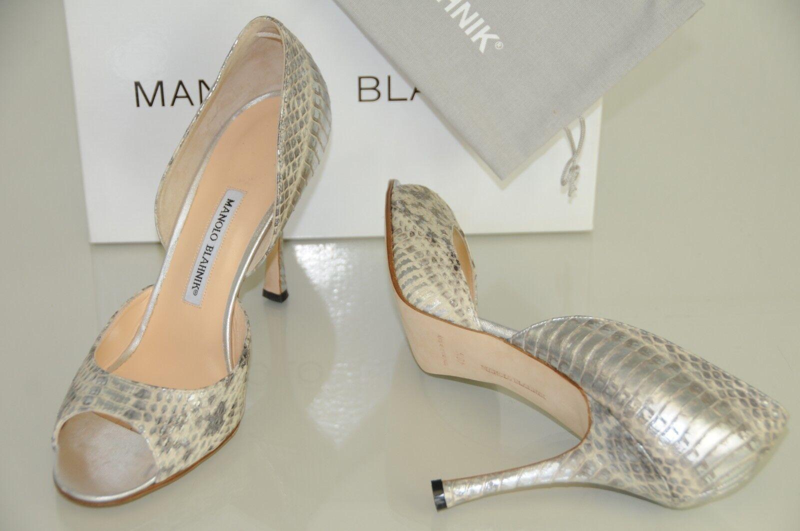Neu Manolo Blahnik Maricrona Silber Grau Creme Exotischer Schlange Dorsay Schuhe