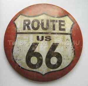 US Route 66 ROUND DOME TIN SIGN rustic vtg metal wall ...