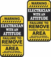 """2 - 4"""" x 2"""" Electrician Warning Attitude Decal SET Motorcycle Sticker Tools WS1"""