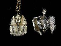 Italian Gold Plated Pendant Abruzzi 18kt Hge King Tut Elephant Egypt Pharaoh Art